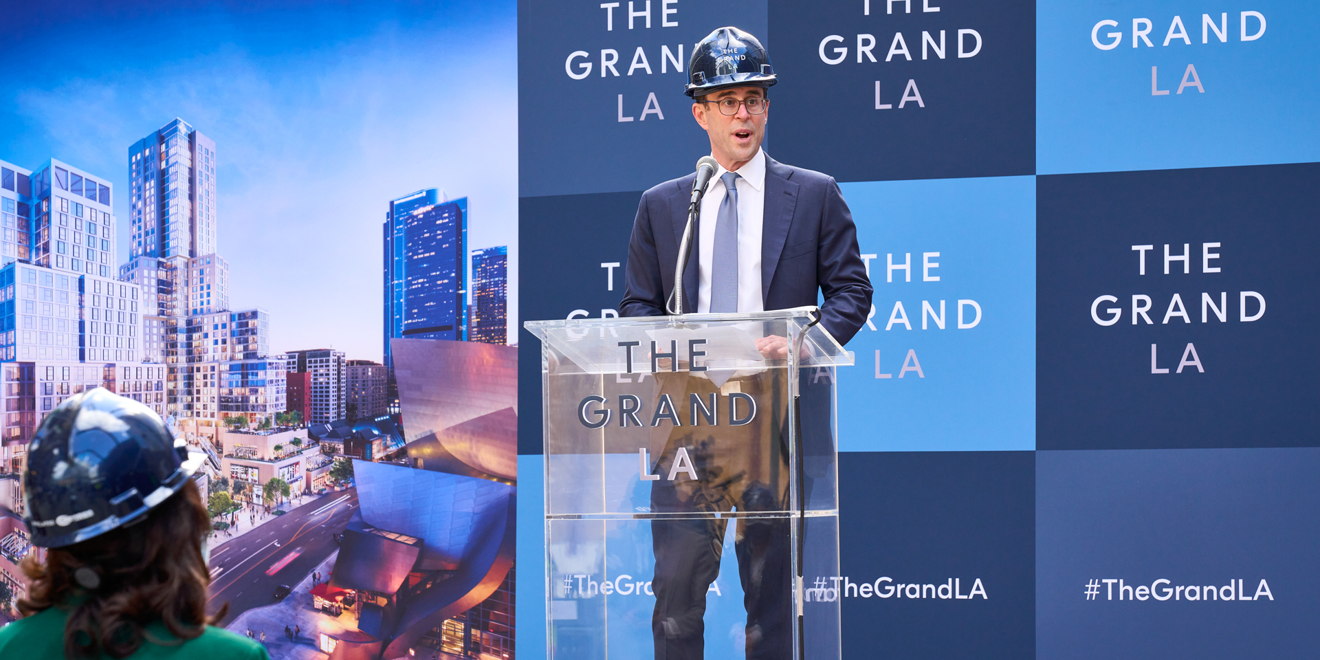 Celebrating The Grand topping out with Related CEO Jeff Blau